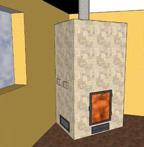 Stufa ad accumulo a base quadrata o rettangolare, giri di fumo a 4 ...